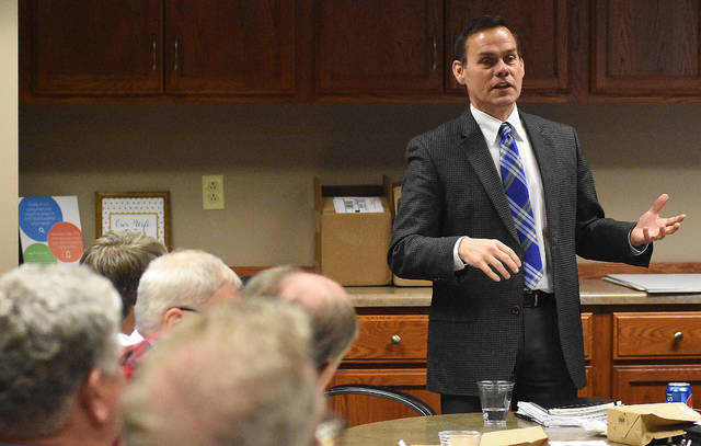 Jeff Sprague, President/CEO of Greater Lima Region, Inc. addresses County, township, village and city officials during a public officials dialogue on Wednesday afternoon.  Craig J. Orosz | The Lima News