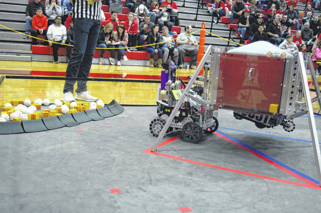 Robots, like this one, competed in a tournament at Van Wert High School, Saturday. The top teams advance to state in a month.