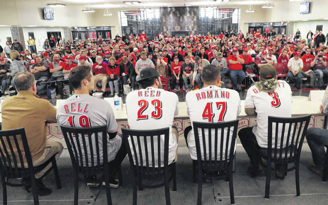 From left, vice president of player development Shawn Pender and players Brantley Bell, Cody Reed, Sal Romano and Scooter Gennett answer questions during Friday's 2019 Cincinnatii Reds Caravan stop at Apollo Career Center.