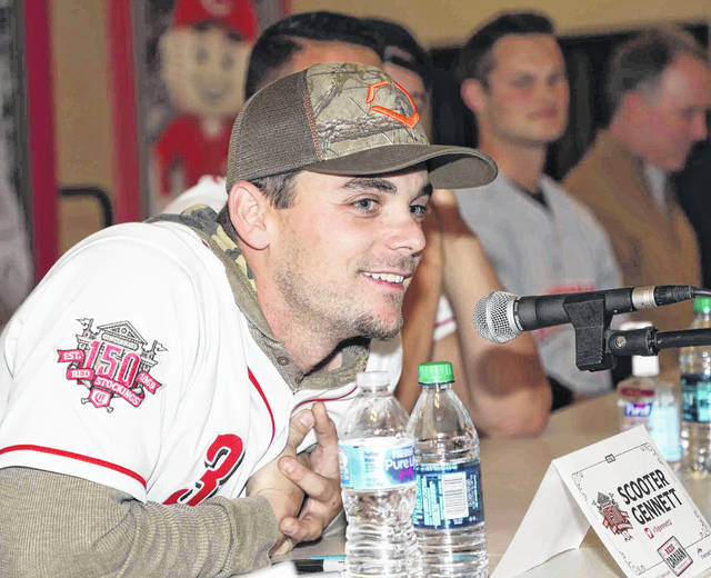 Scooter Gennett answers a question during Friday's 2019 Cincinnati Reds Caravan stop at Apollo Career Center.