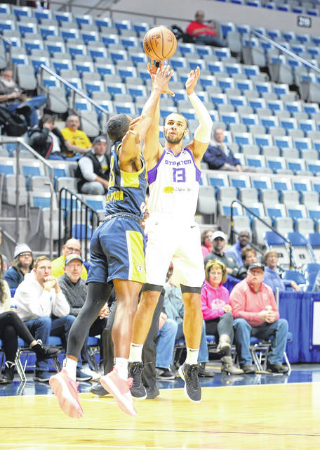 Stockton Kings' Taren Sullivan shoots the ball against the Demetrius Denzel-Dyson of the Fort Wayne Mad Ants during an NBA G-League game at the Allen County War Memorial Coliseum Monday in Fort Wayne Indiana.