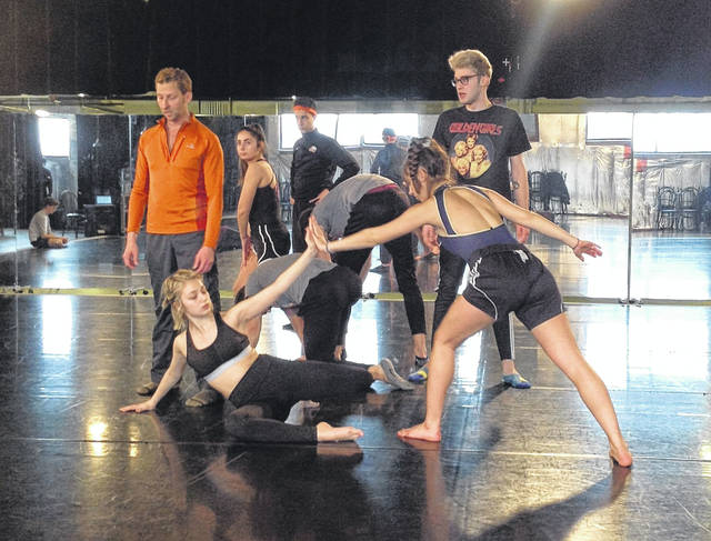 Guest choreographer Nathan Andary works with student performers for Ohio Northern University's Choreographers' Showcase.