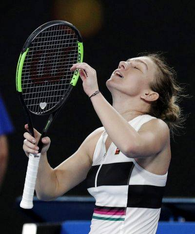 Simona Halep reacts after defeating Sofia Kenin in a Thursday second round match at the Australian Open in Melbourne, Australia. (AP photo)
