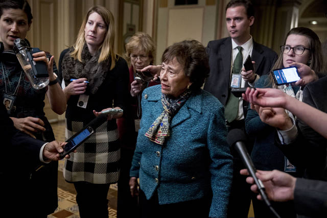 House Appropriations Committee Chair Nita Lowey, D-N.Y., speaks to reporters as she arrives for a closed-door meeting at the Capitol as bipartisan House and Senate bargainers trying to negotiate a border security compromise in hope of avoiding another government shutdown on Capitol Hill, Monday, Feb. 11, 2019, in Washington. (AP Photo/Andrew Harnik)