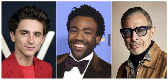 This combination photo shows, from left, Timothee Chalamet, Donald Glover and Jeff Goldblum, who were named Hollywood's most stylish stars by People Magazine.