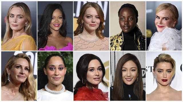 This combination of photos shows entertainers, from top left, Emily Blunt, Rihanna, Emma Stone, Lupita Nyong'o, Nicole Kidman, and bottom from left, Julia Roberts Tracee Ellis Ross, Kacey Musgraves, Constance Wu and Amber Heard, who were named Hollywood's most stylish stars by People Magazine. The magazine is on newsstands Friday.