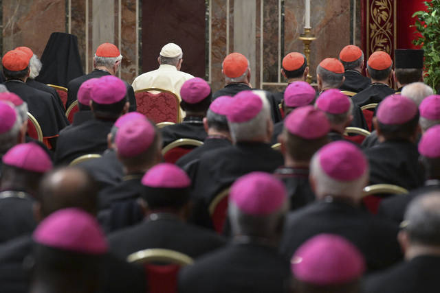 Pope Francis, background third from left, attends a penitential liturgy at the Vatican, Saturday, Feb. 23, 2019. The pontiff is hosting a four-day summit on preventing clergy sexual abuse, a high-stakes meeting designed to impress on Catholic bishops around the world that the problem is global and that there are consequences if they cover it up. (Vincenzo Pinto/Pool Photo Via AP)