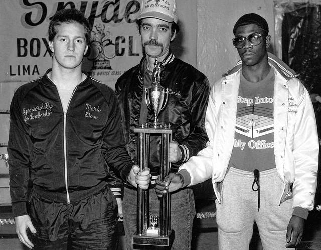 Preparing for the National Golden Gloves boxing tournament are Lima Spyders, from left, Mark Green, coach Bob Heidenescher and Aaron McLaurine in this photo from 1989.