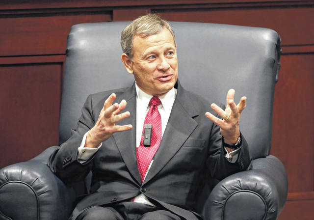 Supreme Court Chief Justice John Roberts answers questions during an appearance at Belmont University Wednesday, Feb. 6, 2019, in Nashville, Tenn.