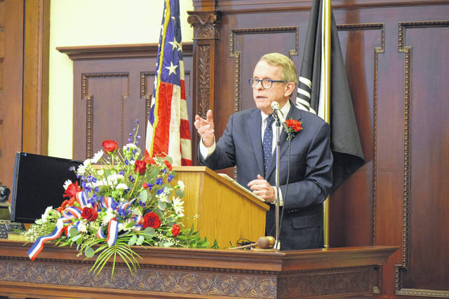 Ohio Governor Mike DeWine makes remarks at the 125th Anniversary of the Auglaize County Courthouse, Sunday.