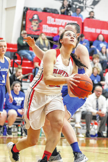 Libby Schaadt of Bluffton goes down the baseline to make her way under the basket against Allen East's Lauren Criblez on Monday night during the Northwest Conference matchup at Bluffton.