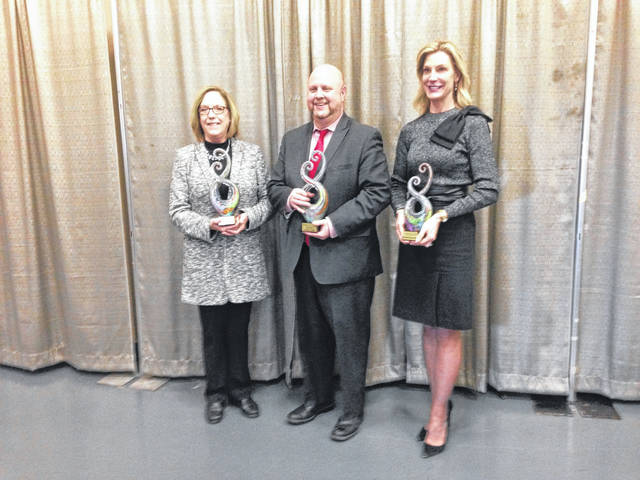 The Arts Advocacy Collaborative of West Central Ohio announced its winners, from left, Patricia Meeks, Director of Bands of Shawnee Local Schools, Superior Credit Union and Elizabeth Brown-Ellis, Executive Director of Lima Symphony Orchestra.