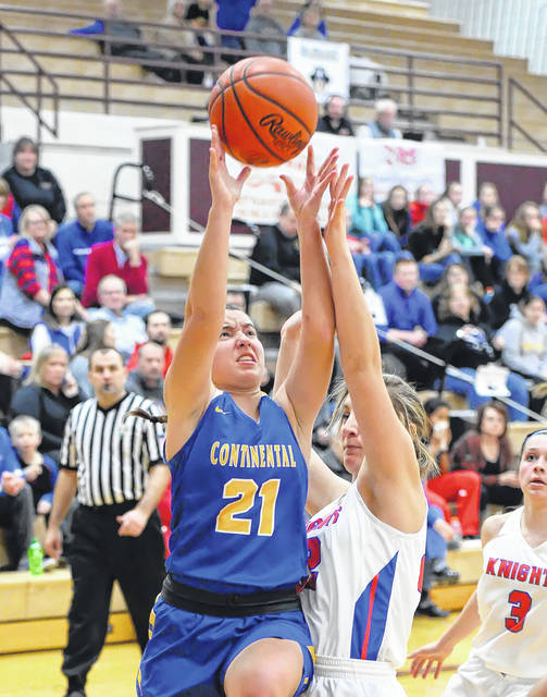 Continental's Kerri Prowant puts up a shot against Crestview's Raegan Hammons during a Tuesday night Division IV sectional game at Paulding High School.