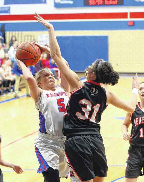 Spencerville's Nelaya Burden (31) defends Crestview's Lexi Gregory during Thursday night's Northwest Conference game at Ray Etzler Gymnasium in Convoy.