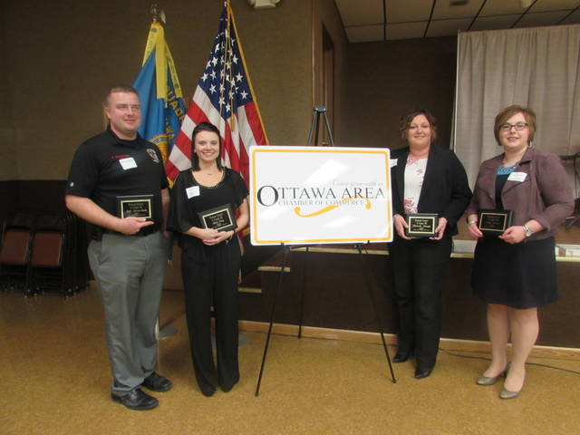 Ottawa Area Chamber of Commerce presented 4 Under 40 Awards to from left Kyle Stechshulte, Alivia Croy, Michelle Brough and Emily Recker.