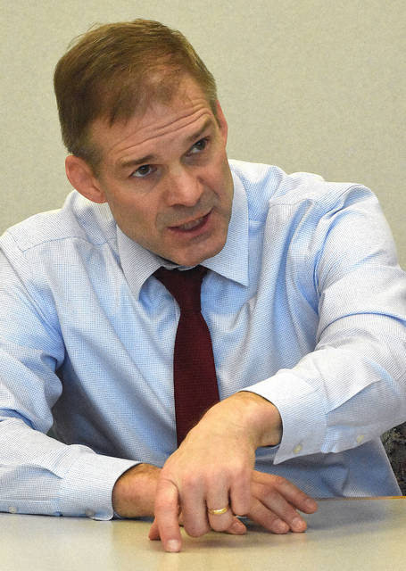 Jim Jordan, U.S. Representative for Ohio's 4th congressional district, answers questions at The Lima News on Wednesday afternoon.