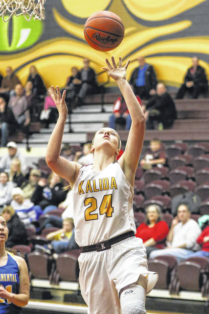Kalida's Abby Wurth puts up a shot during Thursday night's Putnam County League game against Continental at Kalida.