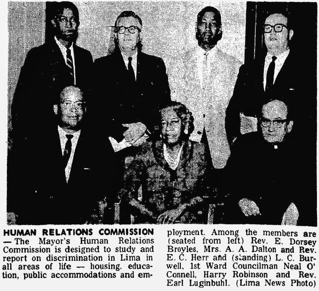 This clip from 1963 shows the Rev. E. Dorsey Broyles, Mrs. A.A. Dalton and Rev. E.C. Herr in the front row and in back, L.C. Burwell, Neal O'Connell, Harry Robinson and the Rev. Earl Luginbuhl.