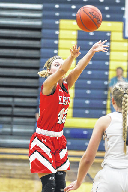 Kenton's Jenna Manns puts up a shot during Thursday night's Western Buckeye League game at Ottawa-Glandorf.