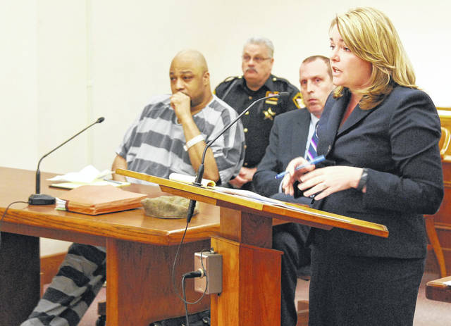 Assistant Allen County Prosecuting Attorney Destiny Caldwell, right, addresses the court during a Thursday morning hearing in the case of Lima resident Terrez Carter, who is charged with rape an assortment of drug-related charges. Carter's attorney, Kenneth Rexford, filed a motion to have some evidence seized during the execution of a search warrant last year ruled as inadmissible at trial.