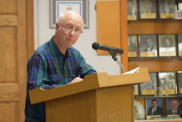 Delphos resident Denny Wieging expressed concerns about the proposed widening of 5th Street in Delphos.