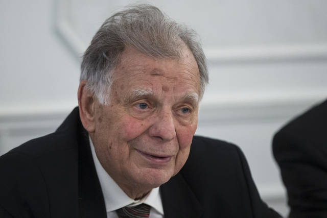FILE - In this Wednesday, Feb. 17, 2016 file photo, Zhores Alferov, Vice President of the Russian Academy of Sciences and Nobel Prize winner in Physics, speaks at a news conference in Moscow, Russia. Russian physicist and Nobel Prize laureate Zhores Alferov has died at age 88. His death was announced Saturday, March 2, 2019 by the State Duma, the lower house of the Russian parliament, where Alferov had been a deputy since 1995. (AP Photo/Pavel Golovkin, file)