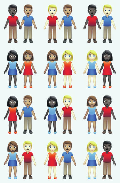 This undated illustration provided by Tinder/Emojination shows new variations of interracial emoji couples. The Unicode Consortium recently approving 71 new variations, using six skin tones already available for one-person emojis.