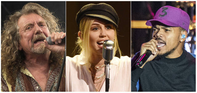 This combination photo shows, from left, Robert Plant, Miley Cyrus and and Chance the Rapper, who will perform one of the 50th anniversary shows commemorating the Woodstock festival, which will take place Aug. 16-18 in Watkins Glen, N.Y.
