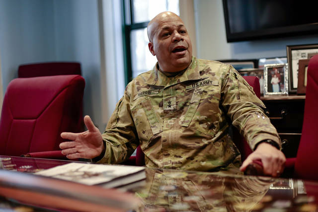 "In this Wednesday, March 6, 2019 photo, Maj. Gen. John C. Harris Jr., Ohio's new adjutant general, answers a question during an interview in his office at the Ohio National Guard Headquarters in Columbus. ""The physical demands of land combat are rigorous,"" he said. ""Retraining our forces to fight in an austere environment — living from your tank, from your rucksack — and readying our combat commanders is so important."""