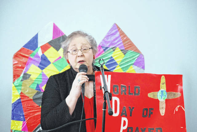 Bobbie Higgins, president of the Lima chapter of Church Women United, kicked off the organization's annual celebration of the World Day of Prayer Friday at South Side Christian Church. The nation of Slovenia was the host nation for this year's event.