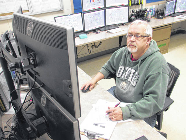 Marty Diller, an operator for Poet, works from his desk at the Leipsic refinery.