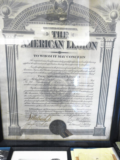 Historical documents like the original charter for the Bluffton American Legion Post 382 were on display at the 100th Anniversary Celebration of the organization.