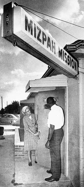 McBride, at the Mizpah Community Center in 1963 with an unidentified man.