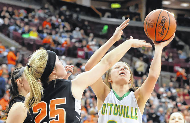 Ottoville's Nicole Knippen puts up a shot against Shadyside's Baylee Wach during a Friday Division IV state semifinal at Value City Arena in Columbus.