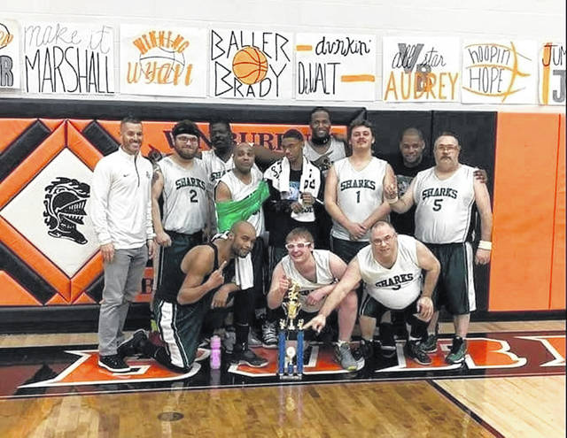 The Allen County Sharks, pictured above, will compete in the Special Olympics Division II basketball Final Four later this month in Hilliard in suburban Columbus. The Sharks are currently undefeated.