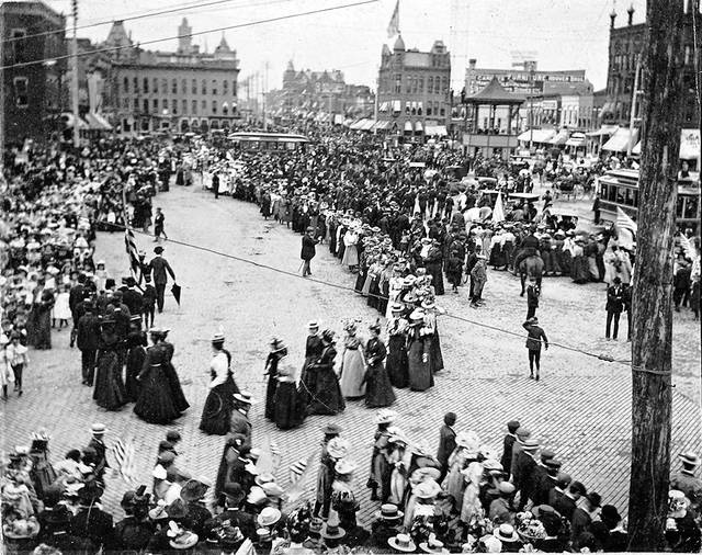 A suffrage march was held 1914 in downtown Lima, featuring mainly women. Bessie Crayton was featured in a newspaper story about the event, as she was the local leader of the movement. The story estimated there were 1,500 participants.