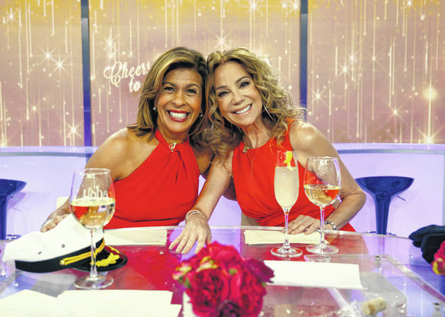 "This image released by NBC shows ""Today"" show hosts Hoda Kotb, left, and Kathie Lee Gifford on the set in New York on Friday, Gifford's last day as co-host. Gifford wrapped up 11 years with NBC's ""Today"" show, receiving a standing ovation from the audience after rapper Flo Rida opened the program by singing that the studio was ""Kathie Lee's house."""