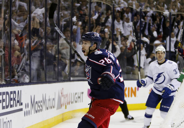Columbus Blue Jackets' Oliver Bjorkstrand, of Denmark, celebrates his goal against the Tampa Bay Lightning during the second period of Game 4 of an NHL hockey first-round playoff series, Tuesday.