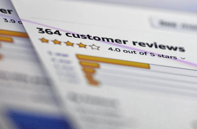 Online customer reviews for a product are displayed on a computer in New York. Many online purchases are based on careful consideration of star ratings and product reviews left by complete strangers. Some 82% of U.S. adults say they at least sometimes read online customer ratings or reviews before purchasing items for the first time, according to a 2016 Pew Research Center survey.