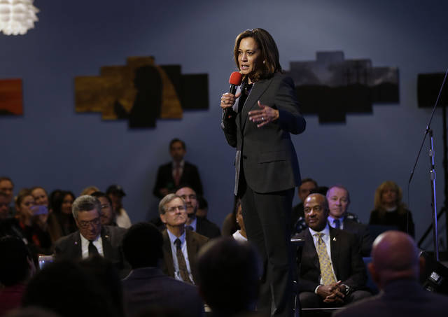 Sen. Kamala Harris, D-Calif., speaks at a a town hall meeting April 5 in Sacramento, Calif., where she discussed the shooting death of Stephon Clark by two police officers. On Friday, The Associated Press found stories circulating on the internet that Harris introduced a bill to forbid a police officer from drawing a gun without permission from their supervisor are untrue.