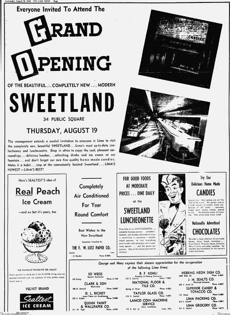 An advertisement for Sweetland in 1948.