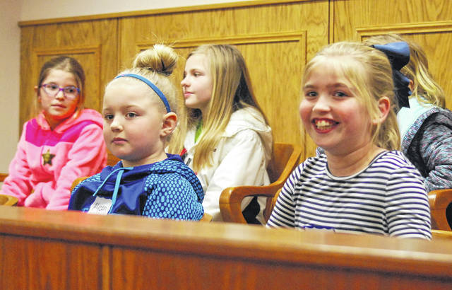 Jurors, members of the third-grade class at Bath elementary school, returned a verdict of guilty in the mock trial Monday.