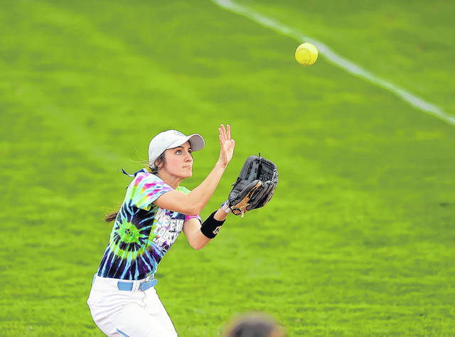 Bath's Tori Dackin gets under a fly ball against Celina during Tuesday's game at Bath High School.