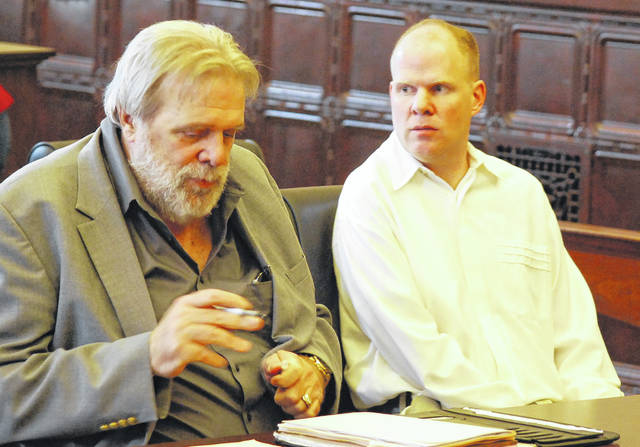 Brent Williams, right, appeared in Auglaize County Common Pleas Court on Thursday with his attorney, William Kluge, for a pretrial hearing in his murder case. The Waynesfield man is charged with two counts of murder in the 2017 death of his estranged wife, Erin Mulcahy. A jury is scheduled to hear Williams' case beginning June 3.