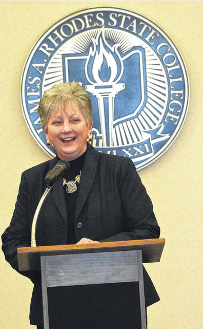 Dr. Cynthia Spiers addresses the media after being introduced as the interim president at Rhodes State College.