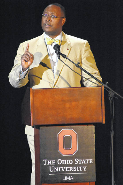 Dr. James L. Moore III, Ohio State's chief diversity officer, talks about the role of diversity in the classroom and teaching Monday at Martha W. Farmer Theatre for the Performing Arts in Reed Hall on the OSU-Lima campus.