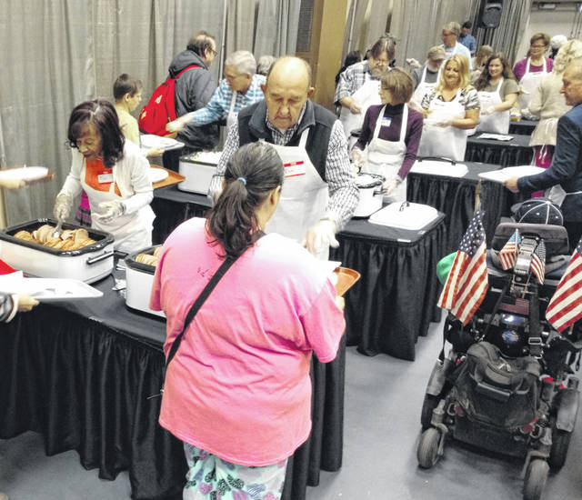 There was plenty of ham, mashed potatoes and green beans for this year's annual Easter dinner at the Veterans Memorial Civic Center.
