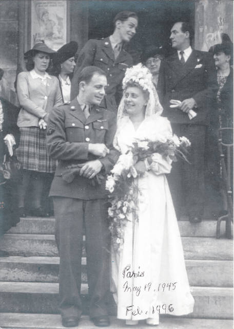 Sgt Edwin William and Madame Lucienne Annette (Rouviére) Paxton on their wedding day.