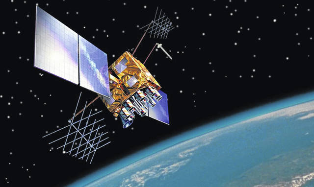 An artist's rendition shows the GPS-IIRM satellite in orbit. The satellite helps global positioning systems run, but it requires a reset every 1,024 weeks.