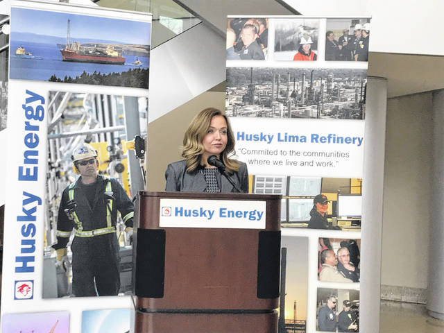 Amy Nusbaum, senior communications manager with the Husky Lima Refinery, held a press conference Thursday to highlight open positions at the refinery.